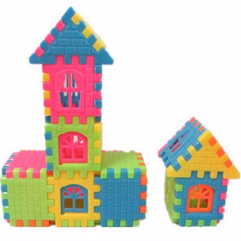 44pcs / lot puzzle fun three – dimensional assembled house building  toys can be opened window building  toys