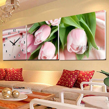 3pcs Full Square Diamond Painting With Clock ,Diamond Embroidery, Mosaic Pasting Cross Stitch, Pink Roses Wall Clock Decoration
