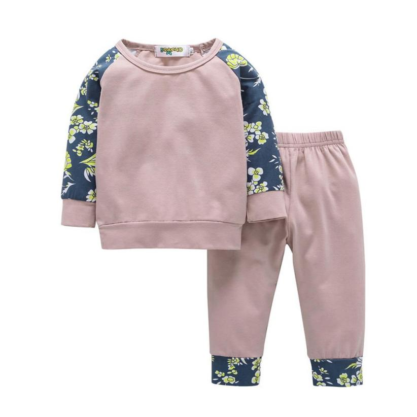 2pcs Toddler Infant Baby Boy Girl Clothes Set Floral Tops+Pants Outfits infant baby boy girl 2pcs clothes set kids short sleeve you serious clark letters romper tops car print pants 2pcs outfit set