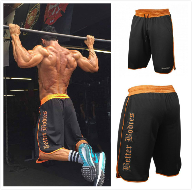 Mens Gym Fitness Shorts Run Jogging Sports Loose Cool Mesh Quick Dry Bodybuilding Crossfit Sportswear Male Short Pants