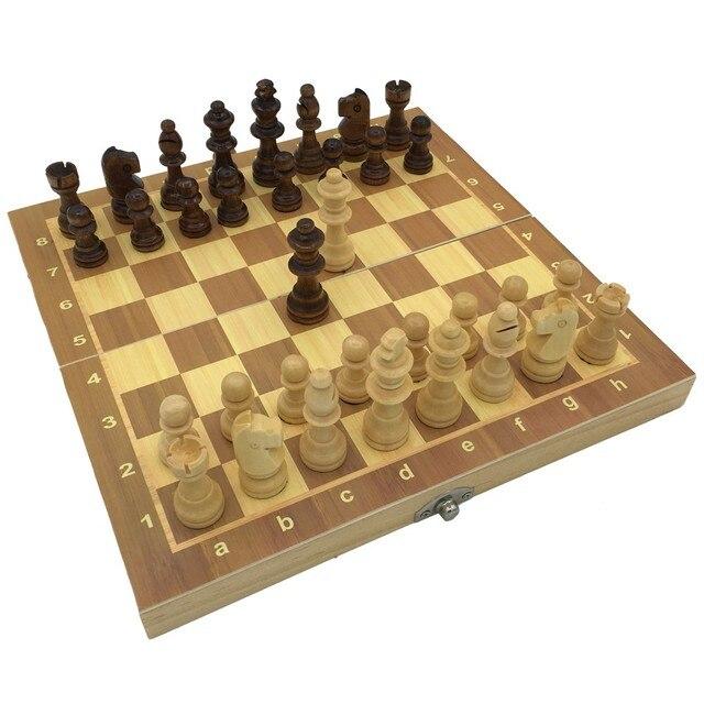 Ensemble d'échecs magnétiques et pliants en bois, taille 23.7cm x 23.7cm 3