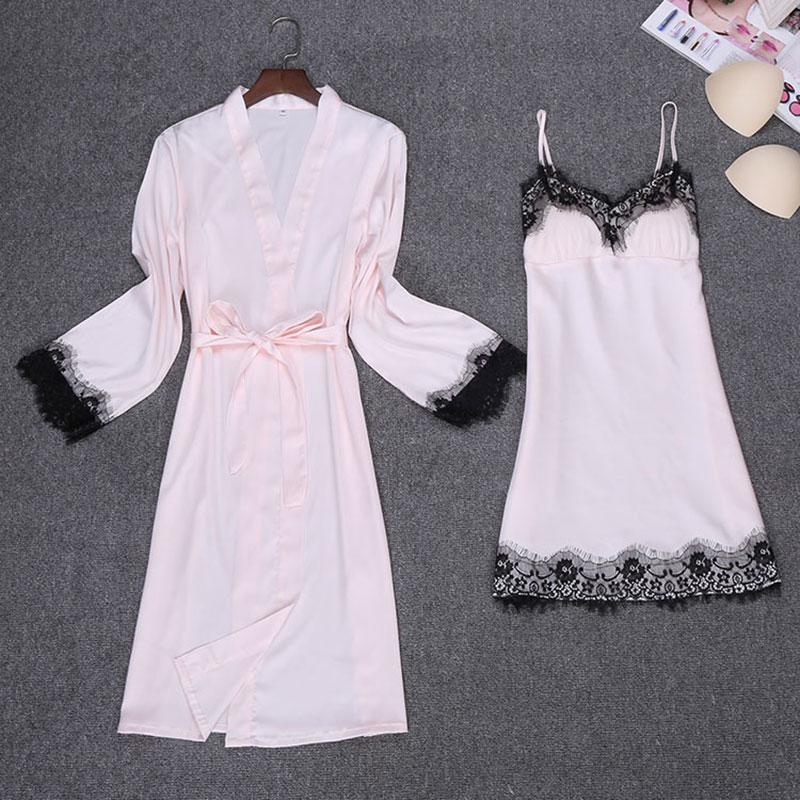 CR Silk Satin Lace Sexy Lingerie Bathrobe Robe Sets Robe & Nightgrown Set Pajama Sleeping Dress 4 colors Robe Home wear AP555