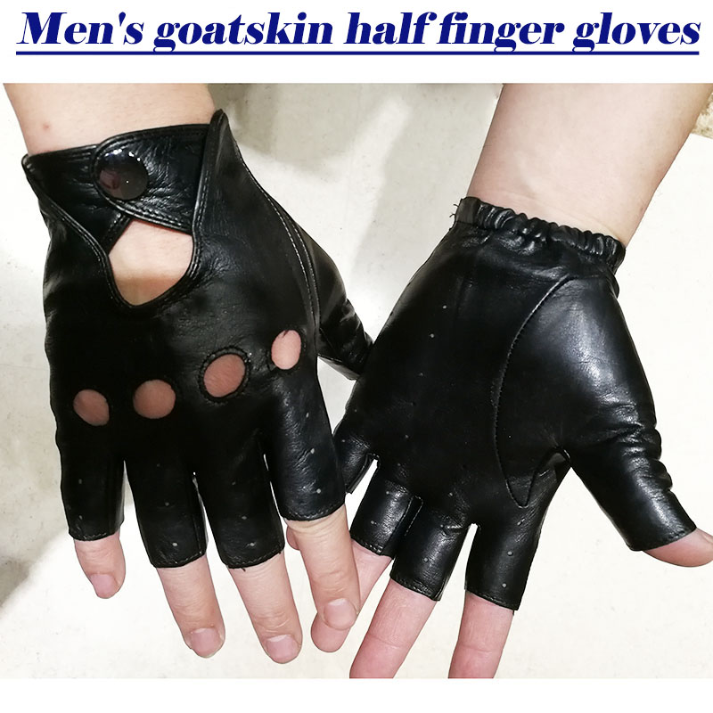 Sheepskin Leather Half Finger Gloves Men's Imported Goatskin Gloves 2018 New Fashion Hollow Outdoor Sports Riding Driver Gloves