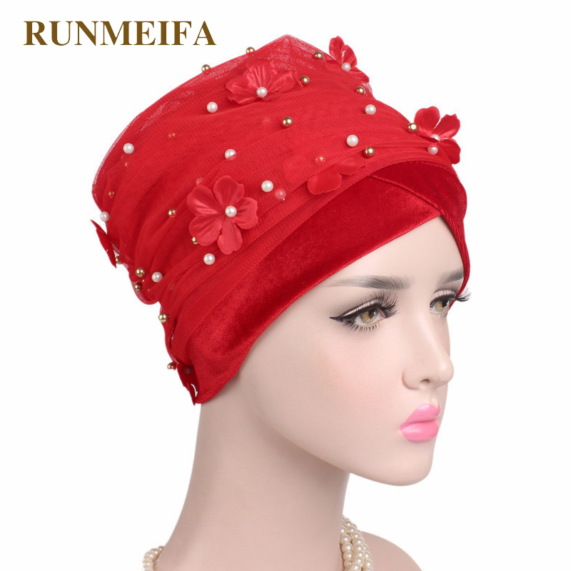 RUNMEIFA New Design Muslim Skullies & Beanies Velvet Scarf Cap For Ladies Luxury Brand Flower Pearl Head Scarf African Wrap Hat