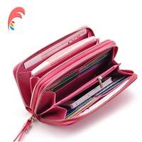 Genuine Leather Wallet Female Famous Brand Fashion Wristlet Zipper Evening Ladies Purse Day Clutch Bag Long Wallet Card Holder