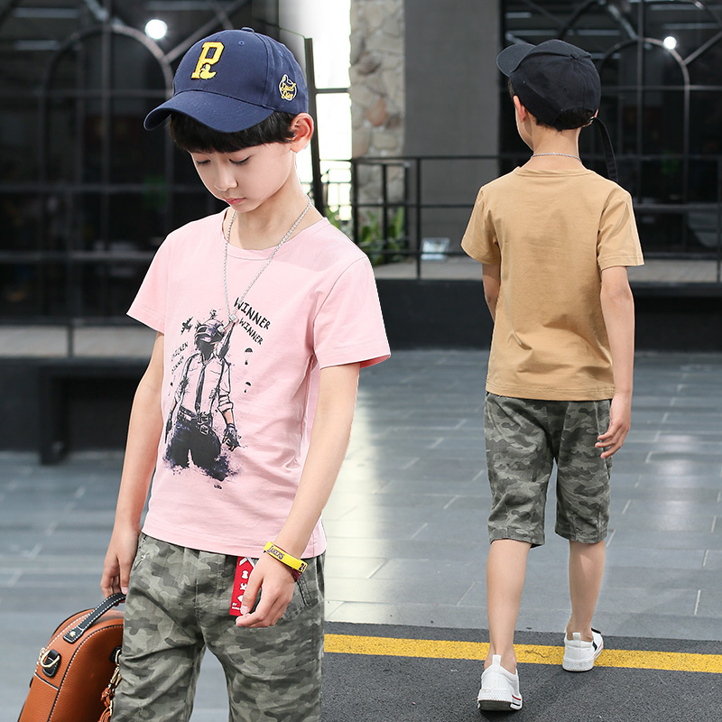 FYH Summer Kids Clothes Children Short Sleeve T-shirt+Camouflage Pants Boys Summer Clothing Sets Big Boys Cotton Tees and shorts 2016 summer boys short sleeved t shirt two piece children s sports suit camouflage uniforms boys