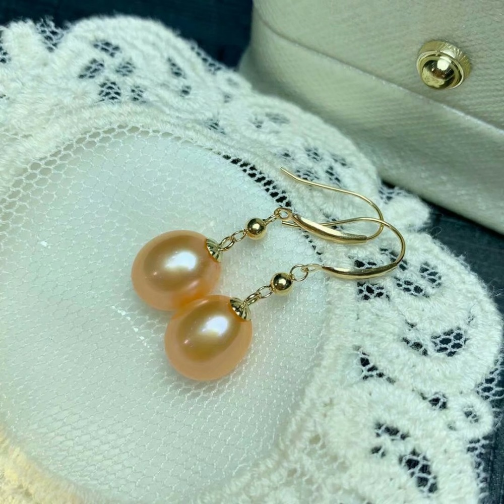 shilovem 18k yellow Natural freshwater pearls Drop Earrings fine Jewelry women trendy wedding gift new myme8 09zz in Earrings from Jewelry Accessories