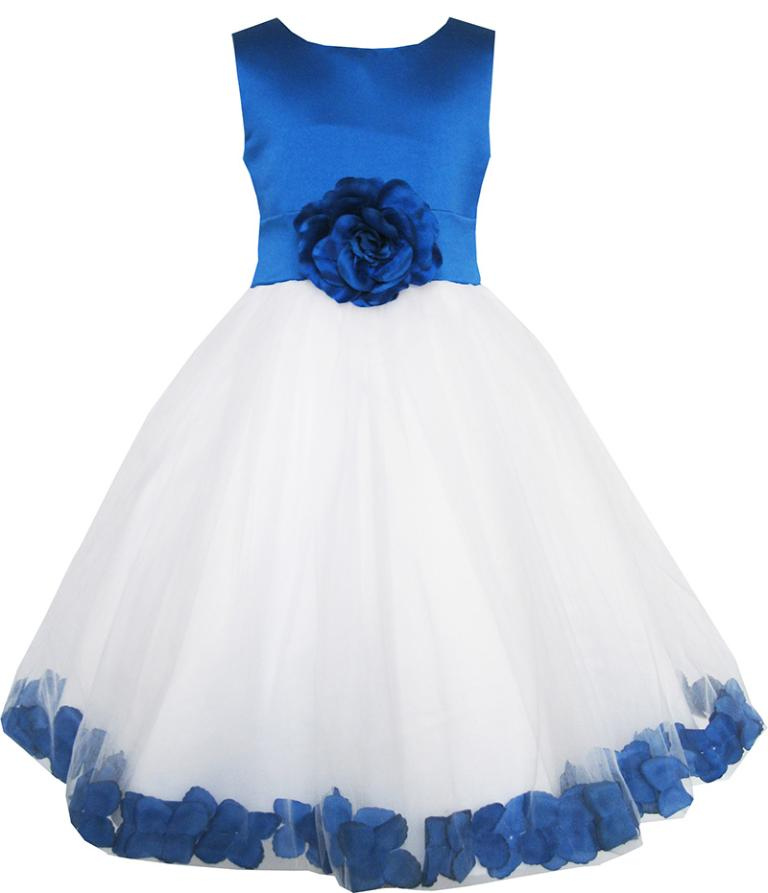 Sunny Fashion Girls Dress Blue Flower Tulle Wedding Pageant Bridesmaid Kids Clothes 2017 Summer Princess Party Dresses Size 2-14 girls dress ruffles tulle tiered dress sequin party birthday princess 2016 summer wedding dresses kids clothes size 4 12 pageant