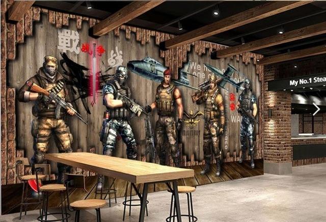 Customize Photo Wallpaper Retro Nostalgia Warrior Cafe Backdrop Stereoscopic Home Decor Living Room