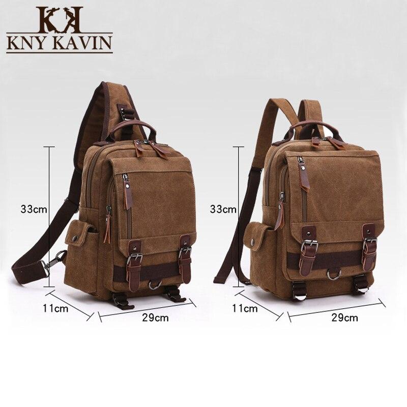 KNY KAVIN Vintage Canvas Backpack 2 Styles Men Women Travel Bag School Bag Large Capacity Rucksack Single Shoulder Bust Bag цена