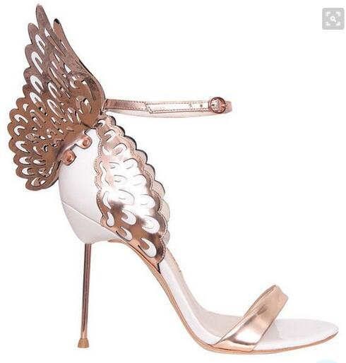 New Arrivals Gold Leather Back Butterfly Sandals High Heel Cut out Metal Heel Prom Dress shoes woman Size 34 41Free S