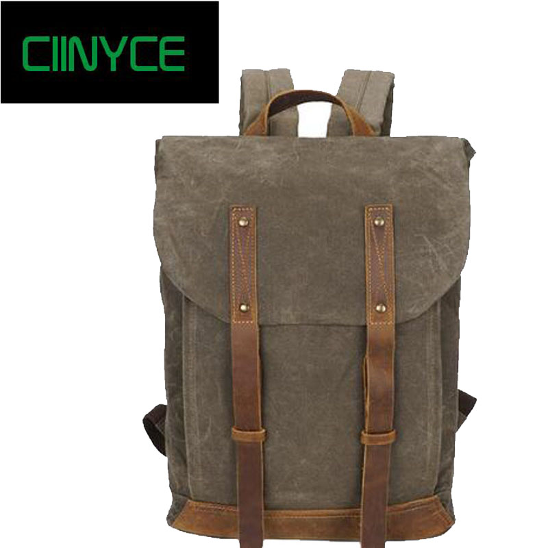 Men Large Capacity Travel Back pack Waterproof Oil Wax Canvas 14 inch Laptop Backpack Vintage College Casual Youth School Bags augur 2018 brand men backpack waterproof 15inch laptop back teenage college dayback larger capacity travel bag pack for male