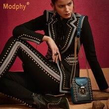 Зимний черный Двухсекционный блейзер с длинными рукавами и v-образным вырезом, блейзер с заклепками и брюки с высокой талией, повседневный женский костюм, вечерние Подиумные костюмы знаменитостей