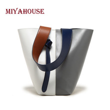 Miyahouse Patchwork Solid Color Shoulder Bag For Women PU Leather Handbag For Female Large Capacity Shoulder Bag For Women