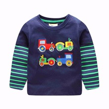 VIDMID Baby Boy Sweatshirt t shirt  Brand Children Autumn Long Sleeve Tops Boys Clothes Striped Kids Dinosaur lion T-shirts
