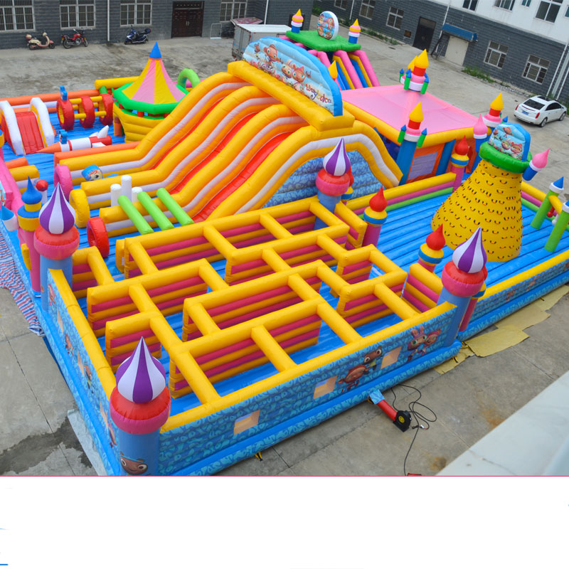 Inflatable castle outdoor large trampoline square park children's playground equipment inflatable obstacles large slide