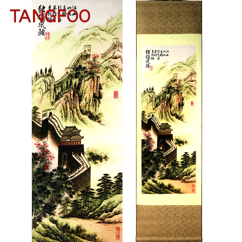 Tangfoo Silk Painting Scroll Chinese National Handicraft The Great Wall Hanging Feng Shui Wall Pictures Business Gifts PaintingTangfoo Silk Painting Scroll Chinese National Handicraft The Great Wall Hanging Feng Shui Wall Pictures Business Gifts Painting