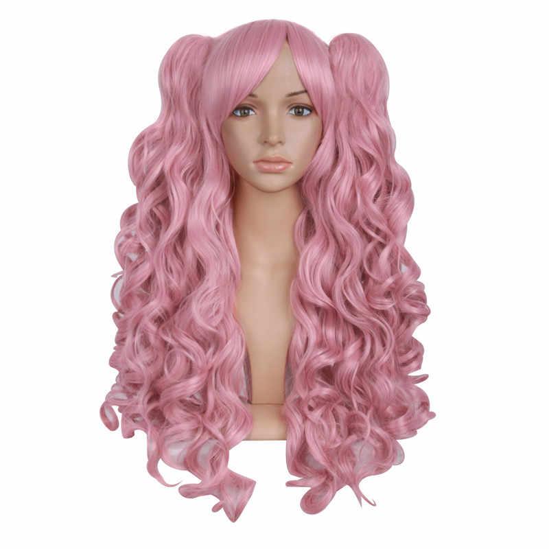 """MapofBeauty 28 """"длинные волнистые косплей парики 2 конский хвостик форма коготь черный Золотой Коричневый Синий Розовый 19 видов цветов термостойкие синтетические волосы"""