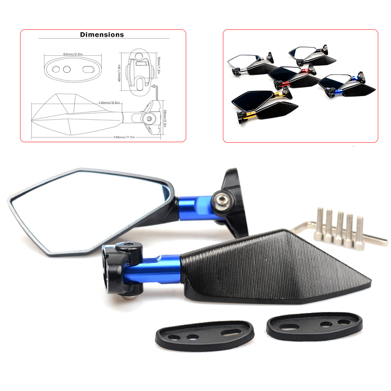 Free Shipping Aluminum CNC Motorcycle Mirror Moto Rear Side Handlebar Blue Glass Mirror for honda yamaha kawasaki ktm bmw suzuki