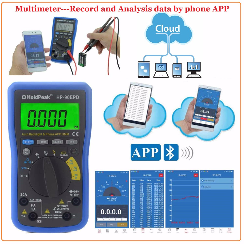 Mobile APP HoldPeak HP-90EPD Auto range multimeter true rms AC DC Voltage Current  ResistanceCapacitance Frequency Back light mini multimeter holdpeak hp 36c ad dc manual range digital multimeter meter portable digital multimeter