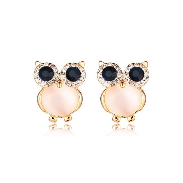 Новый Дизайн милые цинковый сплав сова Серьги розовый опал Золотой  colorcrystal Серьги-гвоздики для Для c7299348f08