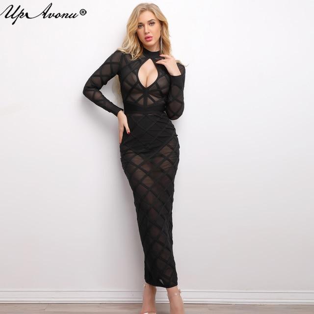 2018 New Women Sexy Mesh See Through Bandage Dress Plaid Black Sheer