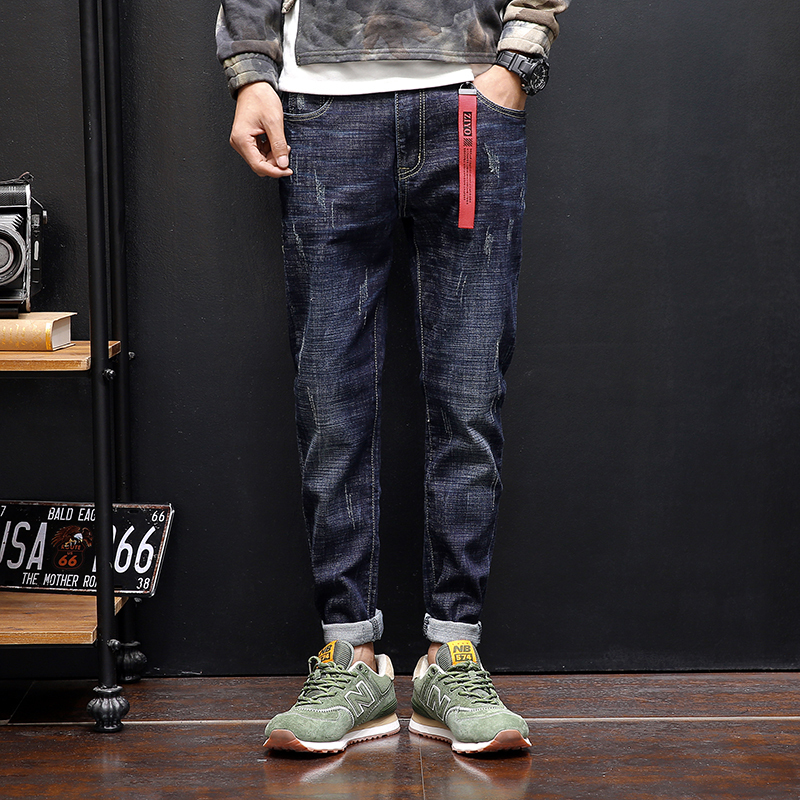 2018 spring autumn and Korean pants fashion blue scratches stretch jeans men and slim thin youth trend Sweatpants Free shipping