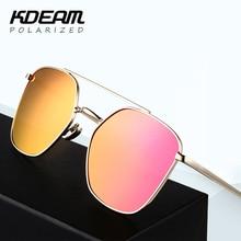 Upscale Fashion Polarized Sunglasses Men Geometric Square Gold Sun Glasses Women Polaroid Gafas De Sol With Brand Box KD23P
