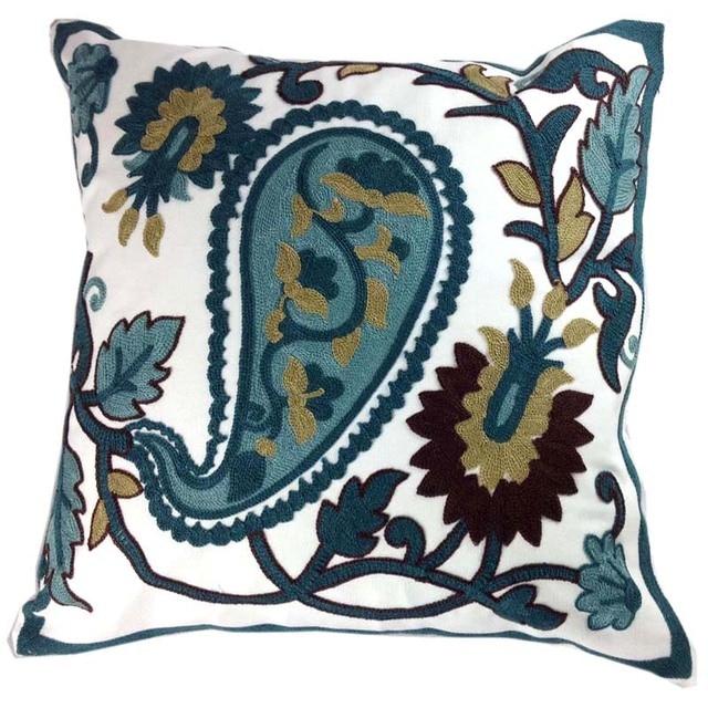 Decorative Paisley Cotton Cushion Cover Sqaure Canvas Crewel