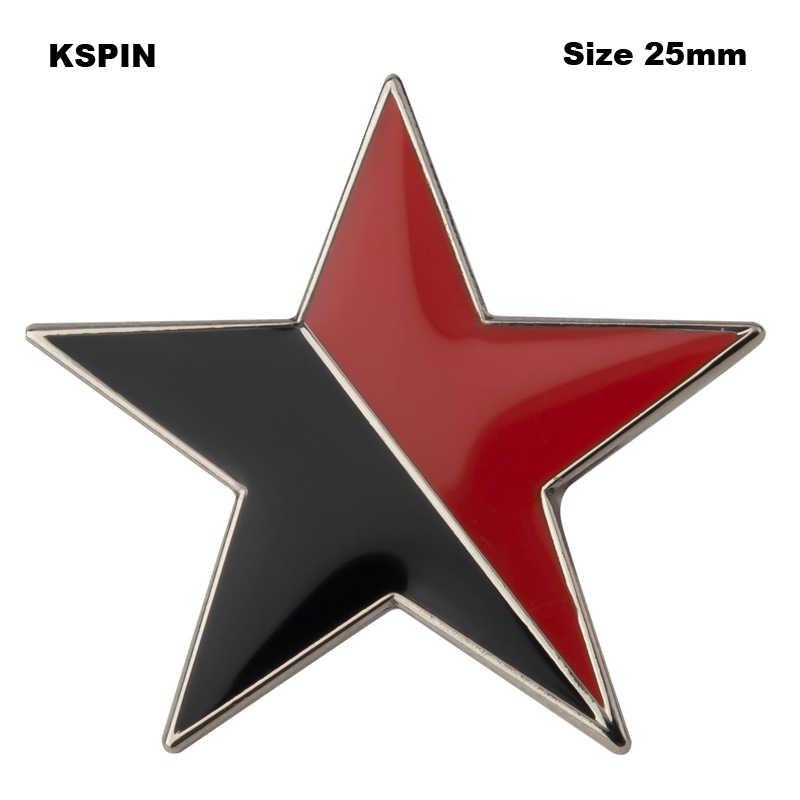 Красно черная звезда отворот значок эмаль брошь булавка джинсовая рубашка