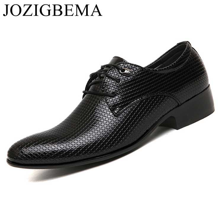 d620504be11 JOZIGBEMA New Classic Men Dress Shoes Style Man Leather Wedding Shoes  Social Sapato Male Oxfords Flat