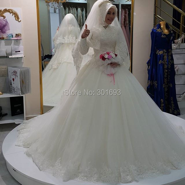 Oumeiya OW554 With font b Hijab b font Ball Gown High Neck Long Sleeve Muslim Turkey