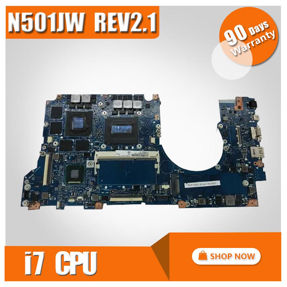 Original For ASUS N501JW UX501J UX50J UX50JW N501J laptop motherboard N501JW mainboard rev2.1 i7 cpu onboard with graphics card laptop motherboard for asus vivobook x202e dh31t x202e rev 2 0 60 nfqmb1700 b02 987 cpu hm70 gma hd good