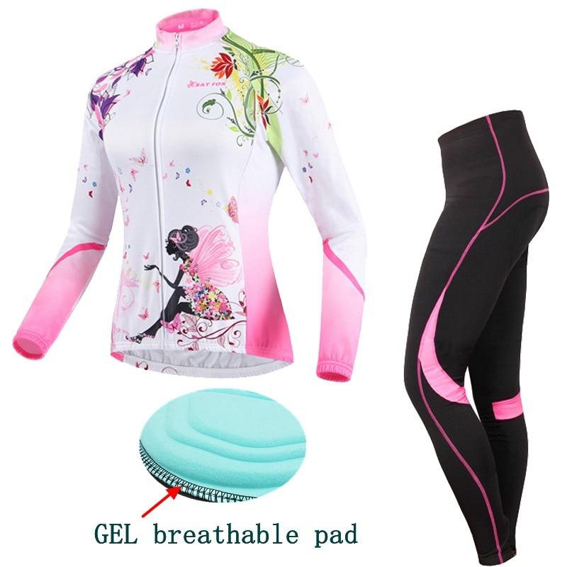 BATFOX Cycling clothing GEL pad Women Pants long Sleeve Pink Winter Warm MBT Jersey Sets factory direct sales Cycling Jersey