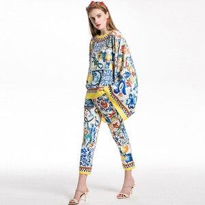 Image 2 - AELESEEN Fashion Runway 2 Piece Set 2018 porcelain Print Twinset Bow Batwing Sleeve Blusa Top + Calf Length Pencil Pants Suit