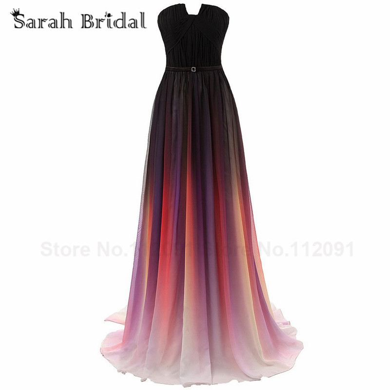 2016 Ombre Prom Dresses Gradient Gala Dress Sexy Strapless Long Evening Gowns Rainbow Prom Pleated Chiffon vestidos de formatura