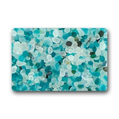 Doormat Mat Beautiful Teal Blue Crystal Pebble Stone Pattern Non Woven  Fabric Door Mat Indoor