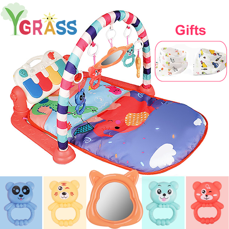 3 In 1 Baby Play Mat Kid Gym Toys Infant Carpet Rattles With Piano Musical Playmat Crawling Activity Education Toy