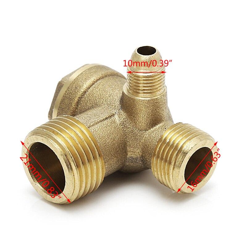 Наружная резьба 3 Way Металлический воздушный компрессор обратный клапан золотой тон