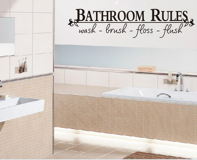 Bathroom Rules English Quote Saying Vinyl Wall Art Decals Stickers Home  Decor