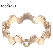 Todorova Much Hexagon Ring Gold Silver Honeycomb Rings Brand Jewelry For Women Wholesale Wedding Engagement Ring