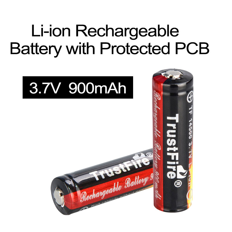 NEW 2pcs TrustFire 3.7V 900mAh High Capacity 14500 Li-ion Rechargeable Battery for LED Flashlights Headlamps
