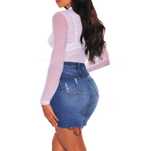 New hot tassel female denim skirt fashion Slim jeans high waist casual hole