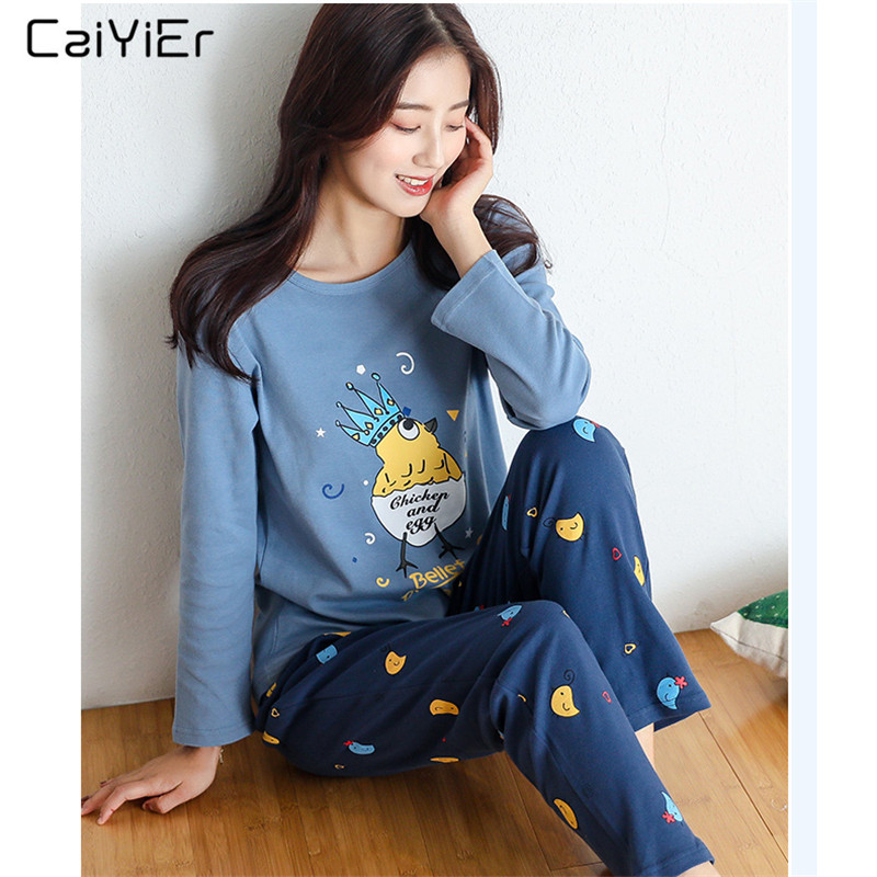 Caiyier 2018 Women   Pajamas     Set   Printed Cartoon Crown Chicken Sleepwear Long Tops Pyjamas Autumn Winter Female Casual Nightwear