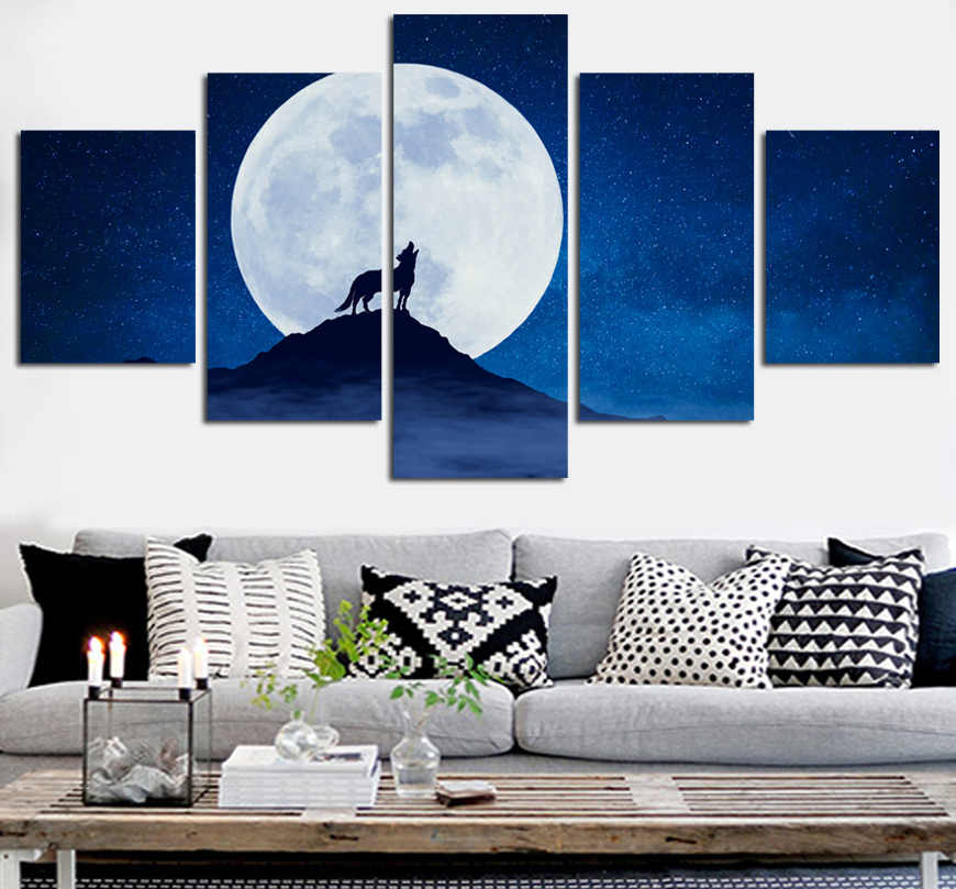 Space Moon Canvas Set Wall Art Wolf Canvas Paintings Modular Picture for Living Room Home Decor Pictures Abstract Painting FA480