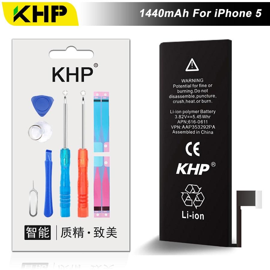 NEW 2017 100% Original KHP Phone Battery For iPhone 5 5G Capacity 1440mAh Repair Tools 0 Cycle Replacement Batteries Sticker
