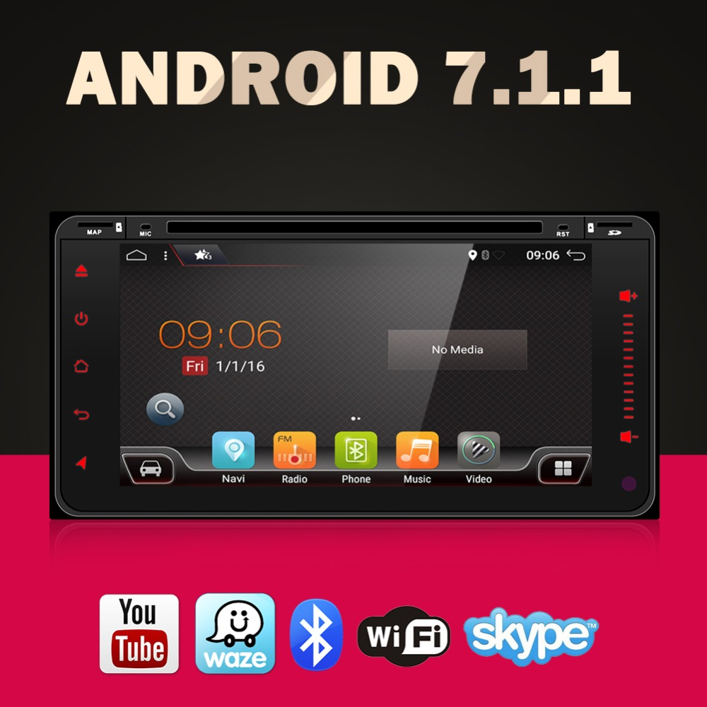 Android 7.1 car dvd player for toyota avensis in dash 2 din Quad Core car dvd gps navigation Wifi 3G TV 200*100mm favourite спот favourite lustige 1724 1u