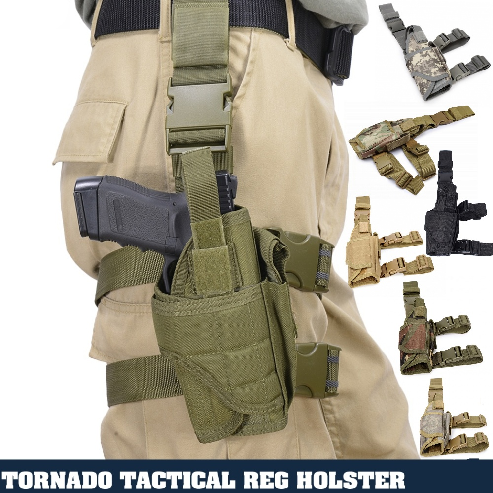 CQC Universal Airsoft Tactical Drop Leg Thigh Tornado Gun Pistol Holster Military Glock Beretta Handgun Pouch Holster