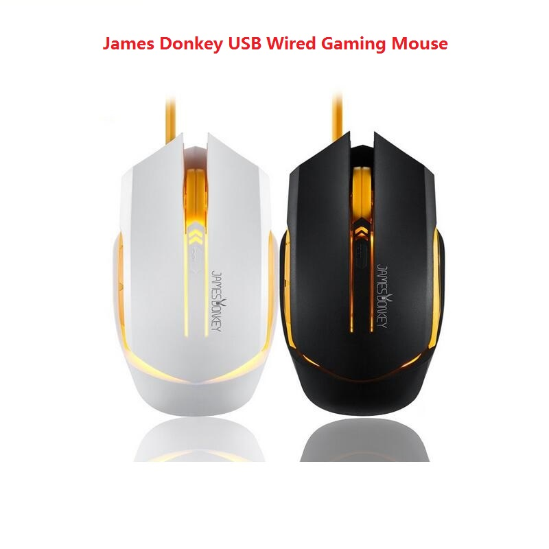 James Donkey 112 USB Wired Gaming Mouse Optical 2000 DPI 6 knapper Baggrundsbelysning til spil CSGO CF LOL Mac PC Office Laptop Mus