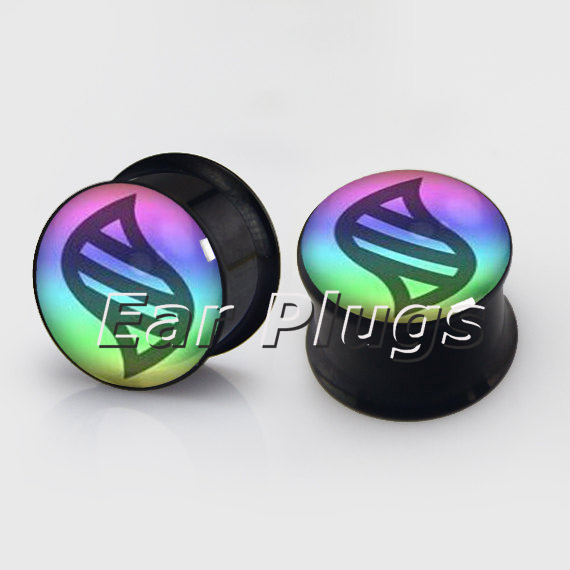 1 pair rainbow logo pattern plugs anodized black ear plug gauges steel flesh tunnel body piercing jewelry 2 pieces